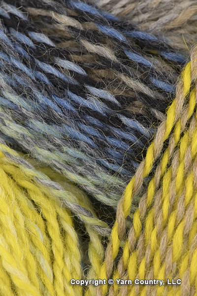 Schoppel Wolle Zauberball Crazy Yarn - Blue/ Taupe/ Yellow (# 2332)