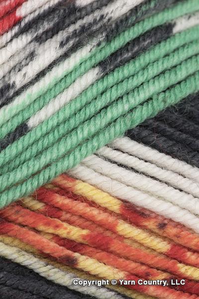 Schoppel Wolle Ambiente Yarn - Red/ Green/ Yellow/ Black (# 2320)